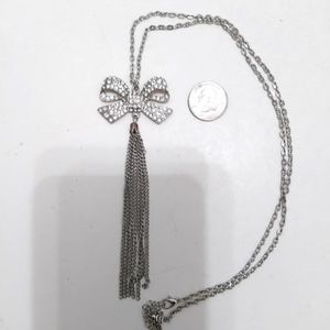Crystal Bow Tie Tassel Pendant necklace